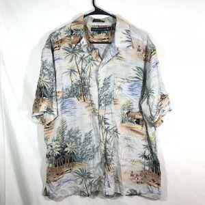 Tommy Hilfiger Hawaiian Shirt Mens Large Button Up